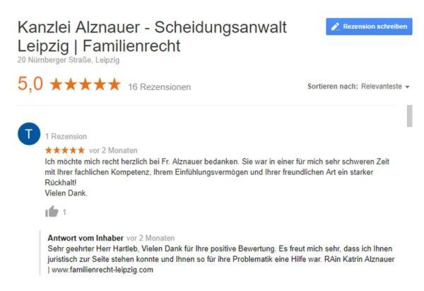 Bewertungsmaske für Kanzlei Alznauer
